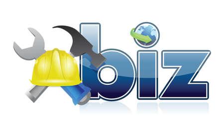 biz under construction sign illustration design over a white background Stock Vector - 18806015