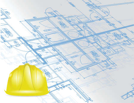 industrial construction: blueprint and under construction sign illustration design over a white background