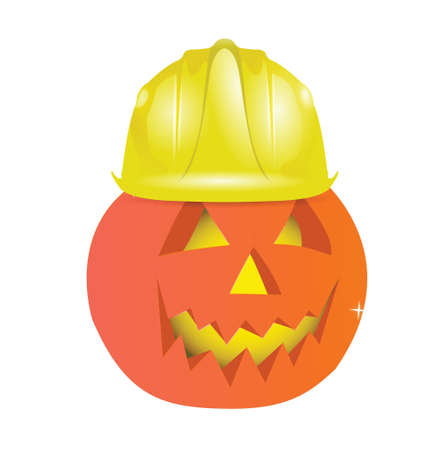 halloween character using helmet illustration design over white Stock Vector - 18806090