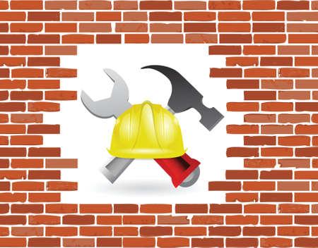 bakstenen muur in aanbouw illustratie ontwerp op wit