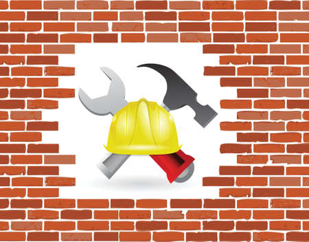 brick wall under construction illustration design over white Stock Vector - 18806035