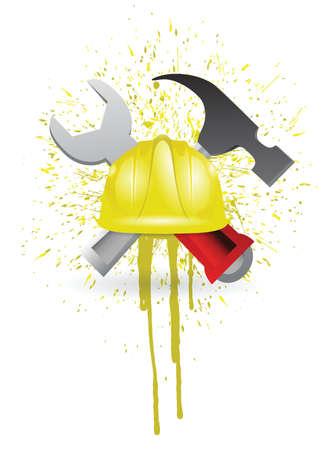 ink sign under construction illustration design over white Vector