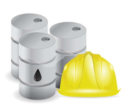 oil barrels and wiring helmet illustration design over white  イラスト・ベクター素材
