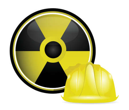 mine site: radioactive helmet protection sign illustration design over white