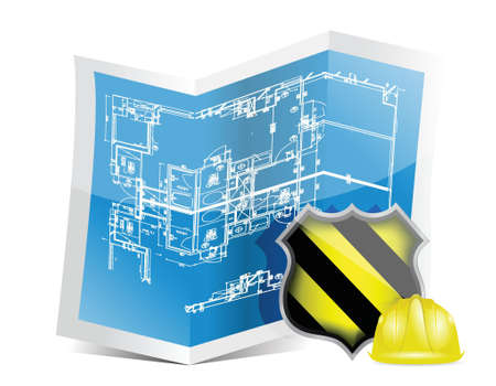 blueprint and under construction sign illustration design over a white background