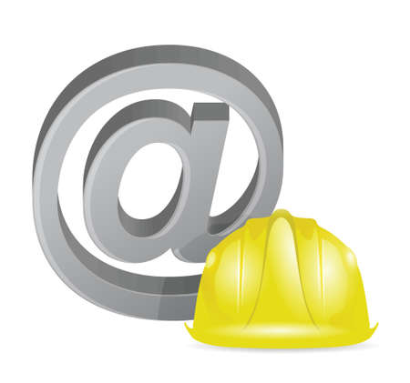 Internet at sign under construction illustration design over a white background Stock Vector - 18806044
