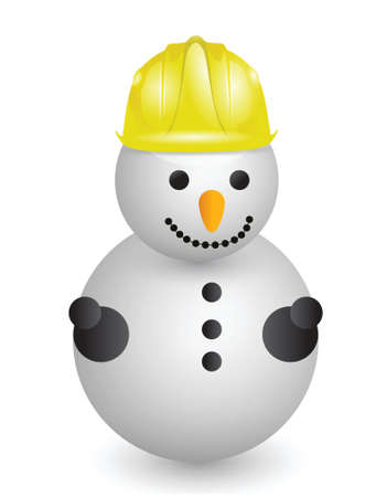 snowman with construction helmet illustration design over white Vector