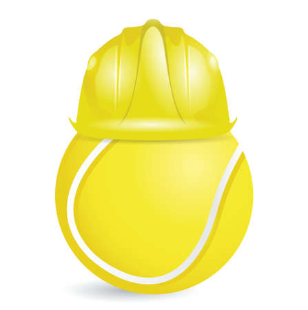 safety hat: tennis training construction illustration design over a white background