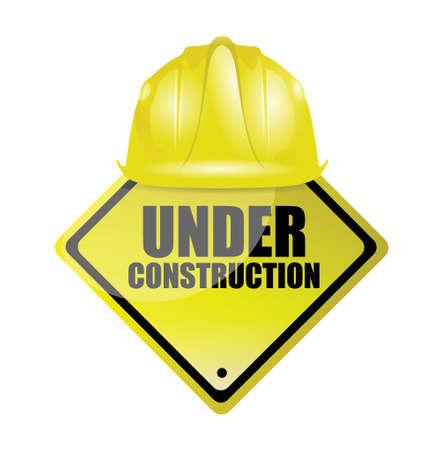 head wear: under construction illustration design over a white background Illustration