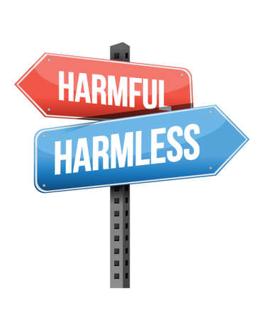 harmless: harmful, harmless road sign illustration design over a white background