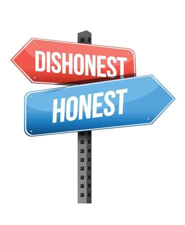 dishonest: dishonest, honest road sign illustration design over a white background