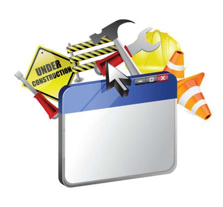 website under construction illustration design over a white background