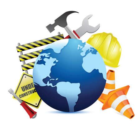 demolition: international globe under construction illustration design over a white background