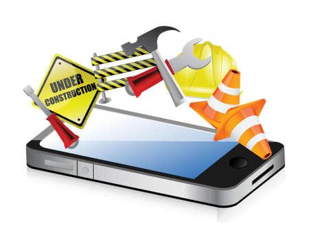 cantieri edili: telefono in fase di progettazione la costruzione su uno sfondo bianco