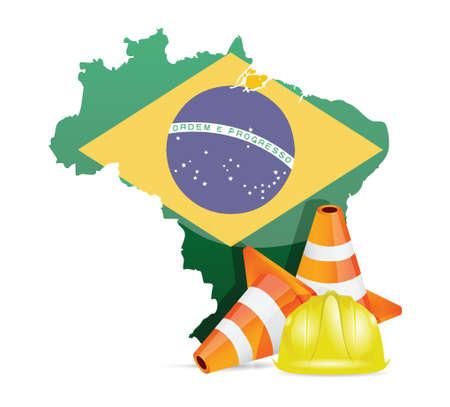 brasil: brazil under construction concept illustration design over white