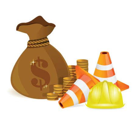 money bag and protected barrier illustration design over white Stock Illustratie