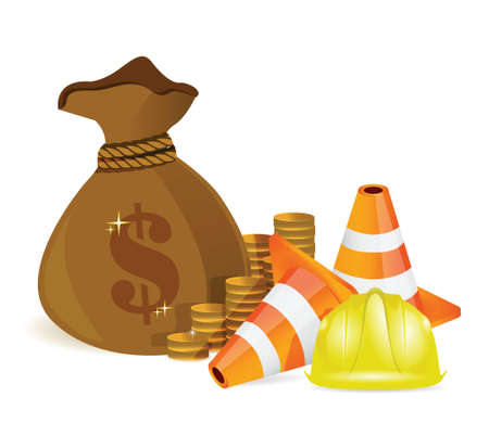 money bag and protected barrier illustration design over white Vector