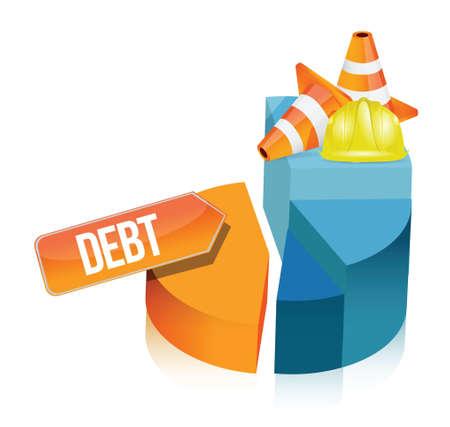 debt pie chart illustration design over a white background Stock Vector - 18806118