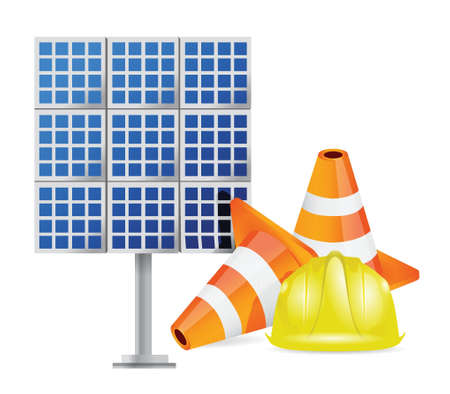energy work: solar panel construction design over a white background over white