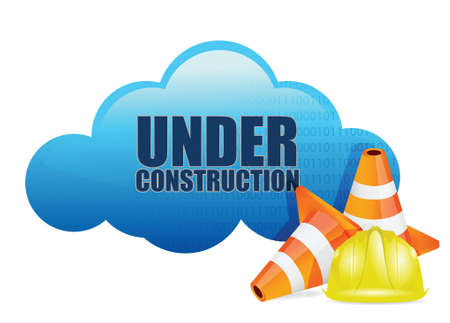 cloud computer under construction technology concept over a white background Stock Vector - 18806145