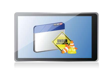 tablet website under construction sign illustration design over white Stock Vector - 18806124