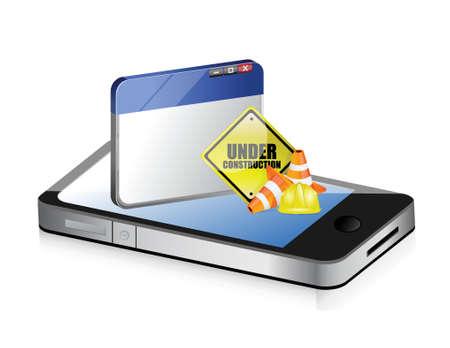building safety: phone website under construction sign illustration design over white