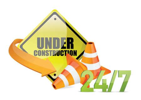 under construction service sign illustration design over white background