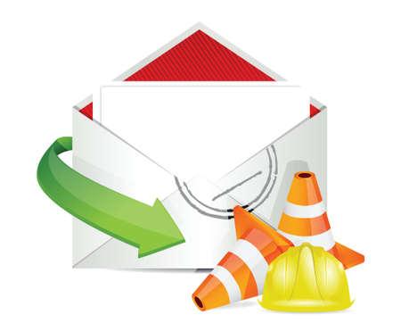 envelope under construction sign illustration design over white  イラスト・ベクター素材