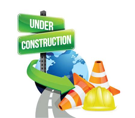 building safety: under construction global roads illustration design over white