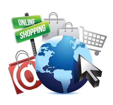 online trading: international online shopping concept illustration design graphic