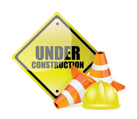 under construction sign illustration design over white Vector