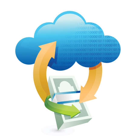 money packs: cloud computing transfers illustration design over a white background Illustration