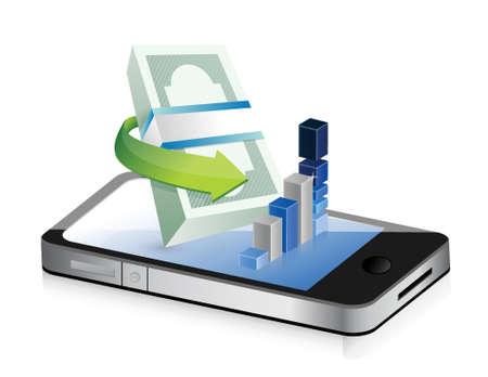 business stats on a modern smartphone illustration design over white Vector