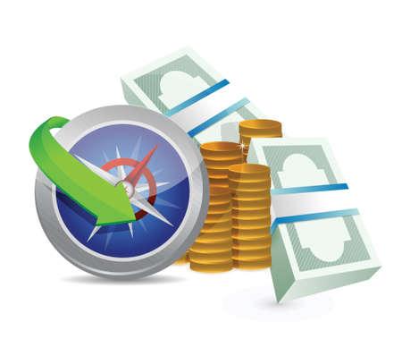profitability: compass guide to profitability concept illustration design over a white background