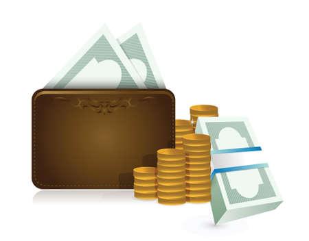 wallet full of cash illustration design over a white background Vector
