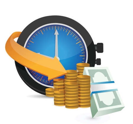 time is money concept illustration design over a white background Vector