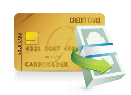 money packs: credit card purchasing limit concept illustrations design over white Illustration