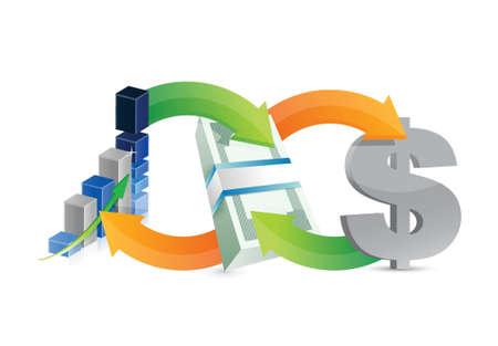 making money: business money making diagram concept illustration design over a white background Illustration