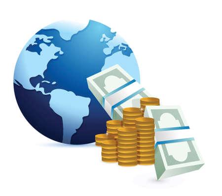 monetären internationales Konzept, Illustration, Design über einem weißen Hintergrund Vektorgrafik
