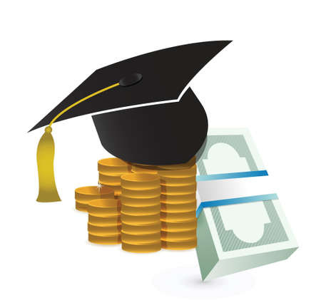 fee: tuition fee. education costs concept illustration design over white Illustration