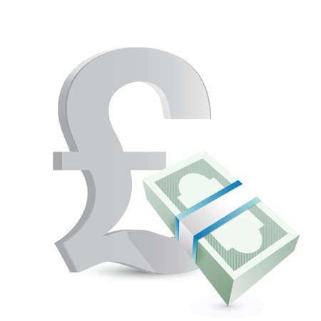 british pound currency bills exchange concept illustration design over white Stock Vector - 18857758