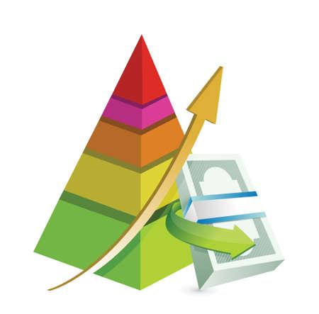 bank transfer: financial pyramid chart illustration design over a white background Illustration