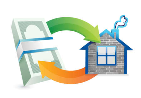 money packs: purchasing a hose or residence cycle illustration design over white