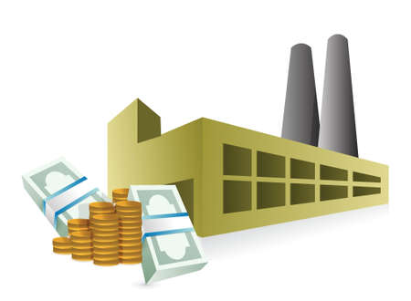 money packs: factory industrial profits illustration design over a white background