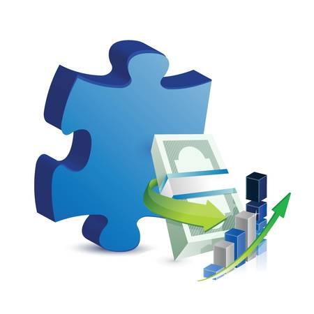 missing puzzle piece: Business missing puzzle piece concept illustration design over white