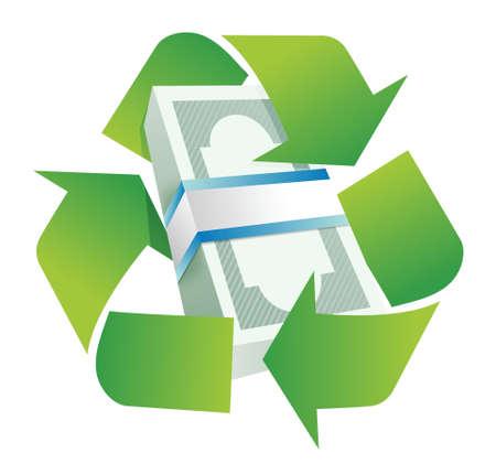 recycler: recyclage conception mon�taire concept illustration sur un fond blanc