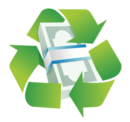 commercial recycling: recycle monetary concept illustration design over a white background
