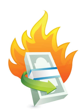 burning paper: monetary concept on fire. crisis concept illustration design over a white background