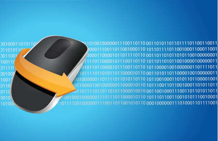 Wireless computer mouse isolated on binary blue background