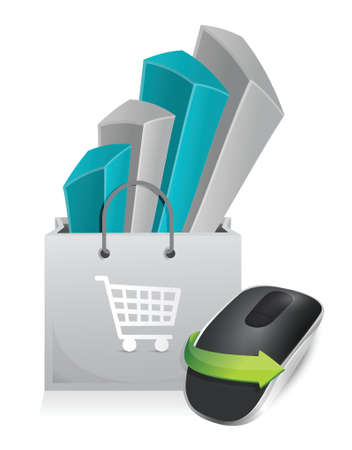 online purchase: online shopping and Wireless computer mouse isolated on white background